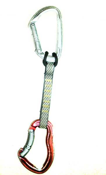 Improperly assembled sport climbing quickdraw
