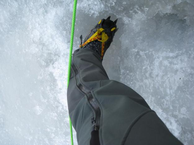 Redirected Jive-Ass Ice Climbing Top Rope Anchor runs across the back of my calves...