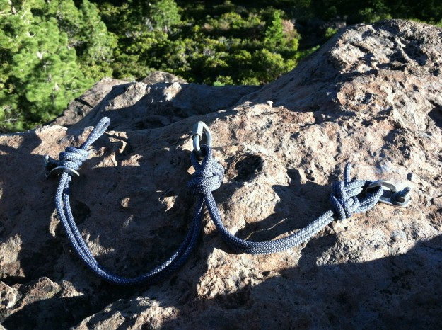 Jive-Ass Rappel Station with stopper knot affixing rope to a bolt