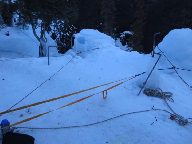 Long ice climbing top rope anchor