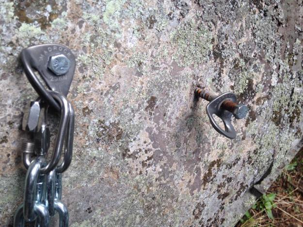 Rusty rappel station bolt. Wait, what is that?