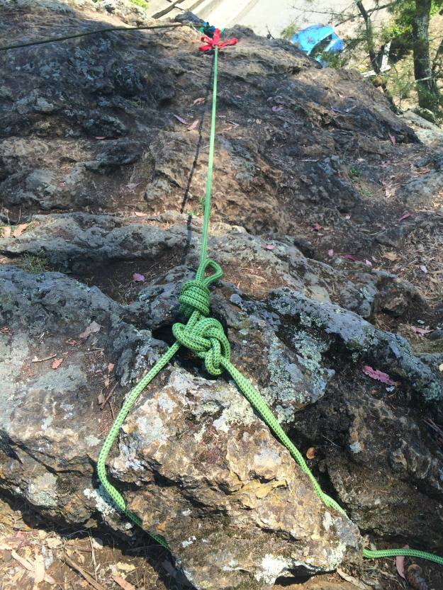 This top rope rock climbing anchor knot is sort of like a Bowline Knot