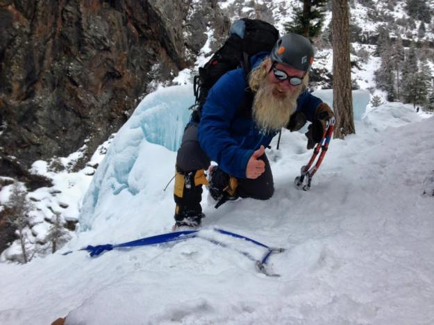 An American Death Triangle Ice Climbing Anchor in Ouray, Colorado